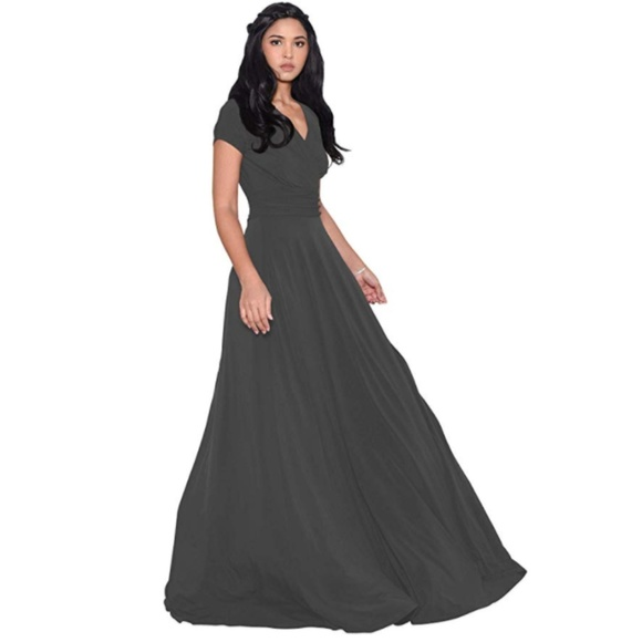Dresses & Skirts - Sexy Cap Short Sleeve V-Neck Flowy Cocktail Gown